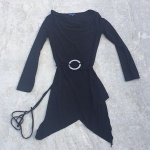 A.D. Black Tunic Blouse with belt